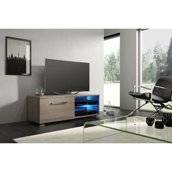meuble tv design avec clairage led coloris sonoma dim 100 x 40 x 36 cm