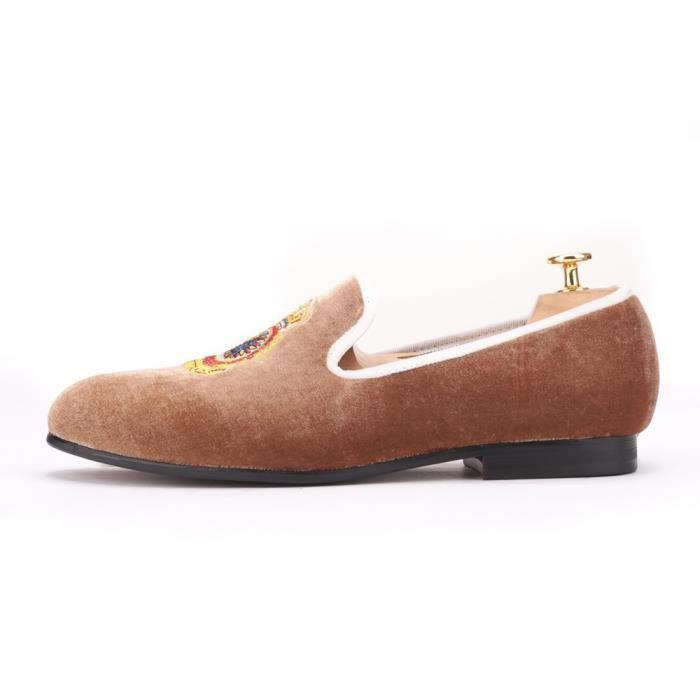 Turquie Couronne Broderie Brown Hommes velours Chaussures hommes grande taille Mocassins hommes Flats h0AndY9H7