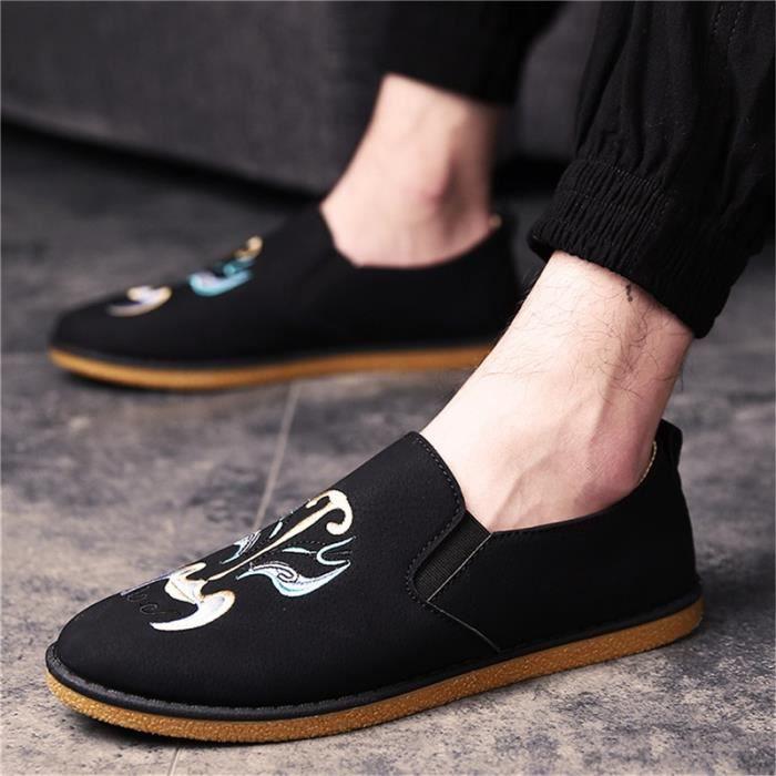 chaussures multisport Mixte Types de style chinois de maquillage du visage En Operas Broderie plates Casual noir taille43 vWJTqpqGF