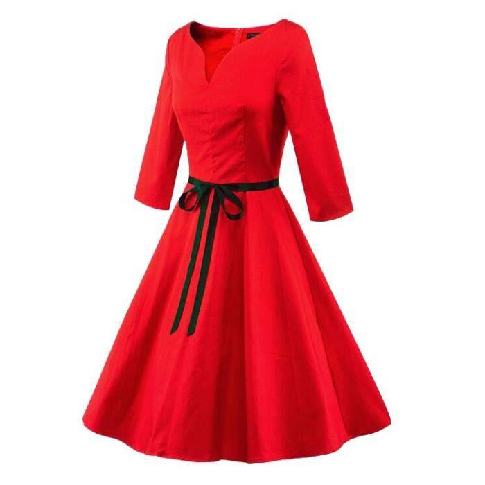 Robe Femmes Mode élégant Col En V Couleur Pure