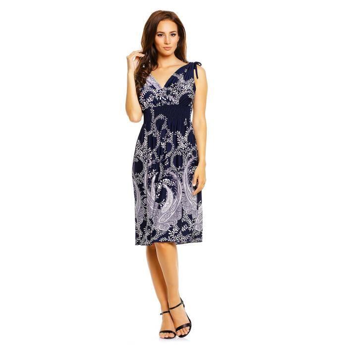 Womens V Neck Sleeveless Casual Flattering Summer Dress 2C51XO Taille-36