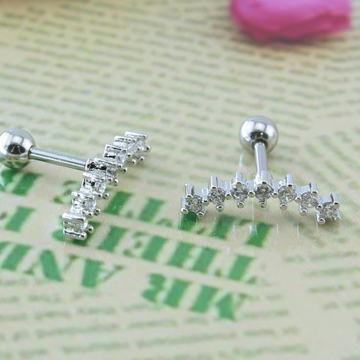 Femmes Curve Seven Stud Cz Boucles doreilles en acier inoxydable 316L Oreille Helix Conch Piercing Cartilage E96DP