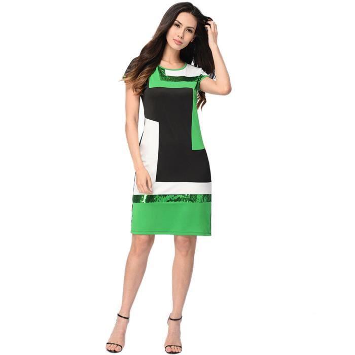 Cou vert D'été Paillettes Manches Courtes Cocktail O De Robe Femmes À Patchwork Xq4T4P
