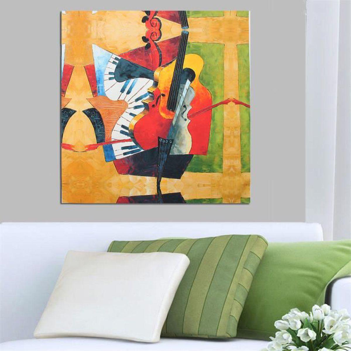 peinture huile violon toile tableau moderne mural art d coration achat vente tableau toile. Black Bedroom Furniture Sets. Home Design Ideas