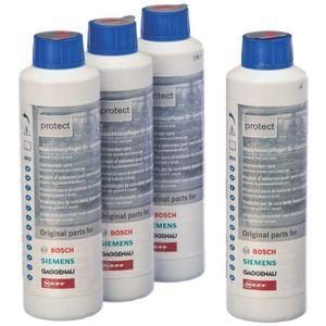 BOSCH 00311566 - Lot de 4 produits d'entretien liquides 2-en-1 pour lave-vaisselle - 250 ml*4