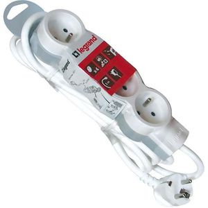 LEGRAND Rallonge multiprise standard 4x2 P+T cordon 3 m blanc et gris