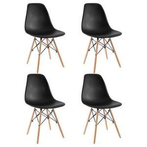CHAISE 4pcs Chaise de salle à manger moderne noir