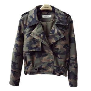 BLOUSON Blouson Femme Simili Cuir Camouflage Court Slim Co