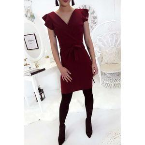 ROBE Miss Wear Line - Robe bordeaux croisé avec ceintur