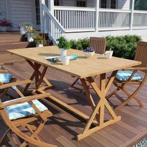 TABLE À MANGER SEULE Table de salle à manger d'extérieur Teck massif 18