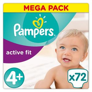 COUCHE PAMPERS Active Fit Taille 4+ - 9 à 20 kg - 72 couc