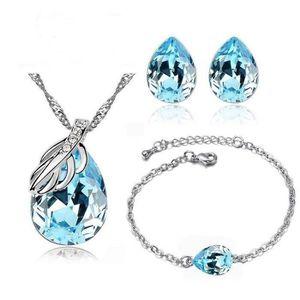PARURE Parure Bijoux Goutte Bracelet Cristal Turquoise Pl