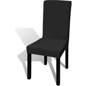 HOUSSE DE CHAISE 6 housses de chaise dos droit extensibles noires