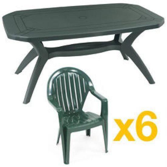 Salon de jardin vert IBIZA : 1 table 165cm + 6 Fauteuils GROSFILLEX ...