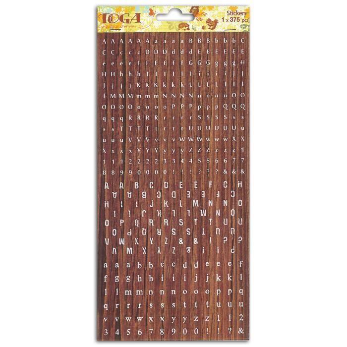 TOGA Planche de mini stickers alphabet – Majuscules minuscules - imitation bois