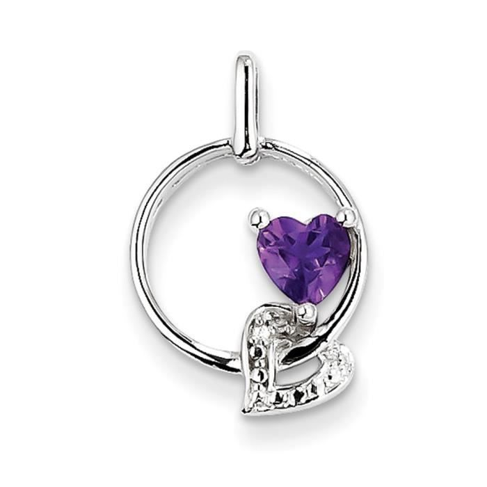 En argent sterling Pendentif diamant améthyste–16