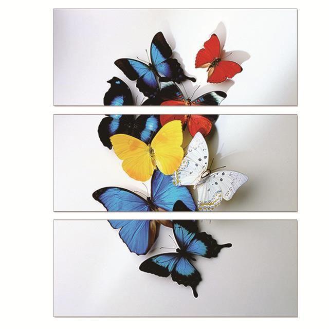 3 pcs peinture murale peinture papillon color papier - Papier pour peinture huile ...