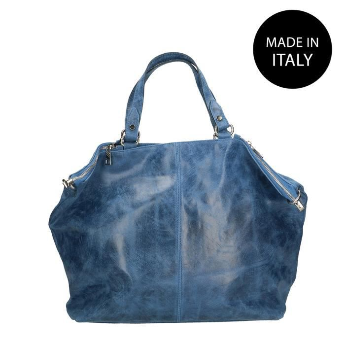 CHICCA BORSE Sac à Main grand pour Femme effet imprimé avec bandoulière véritable cuir made in Italy Jean bleu 47x34x15 Cm
