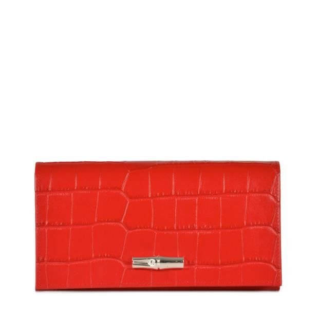 LONGCHAMP - portefeuille femme - ROUGE ROSEAU CROCO Rouge Rouge RED ... 83594d9bb6f