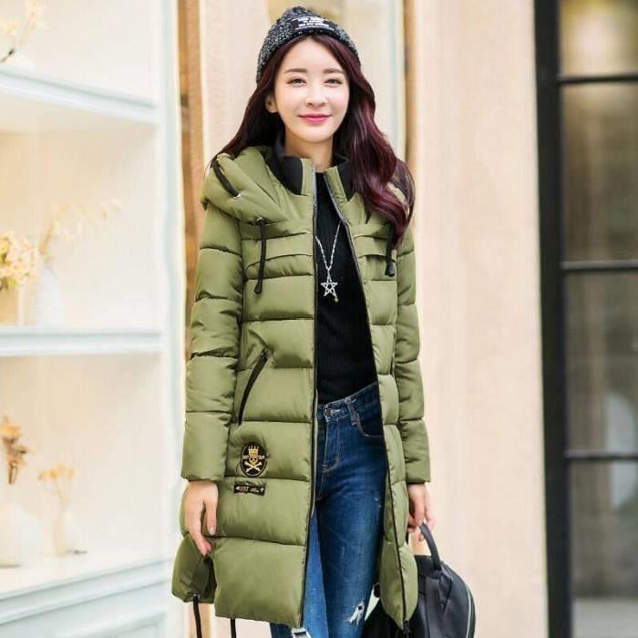 D'hiver vert Femmes Épais Dou Longue Gris rouge ligne noir A Manteau pqC5xP