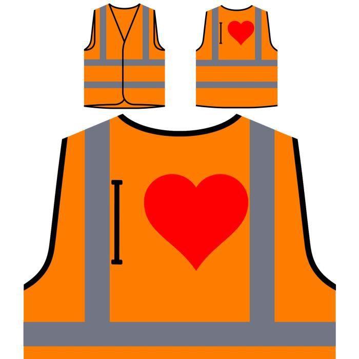 Orange La À Visibilité Haute Drôle Protection Veste Nouveauté j'aime Personnalisée Nouveau Personnali De ABnEwqO