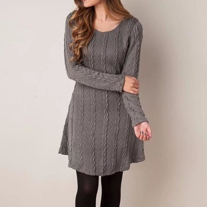 Automne Taille Manches Grande Femmes Casual À Hiver Robe Femme Pull xIqUwzfCY