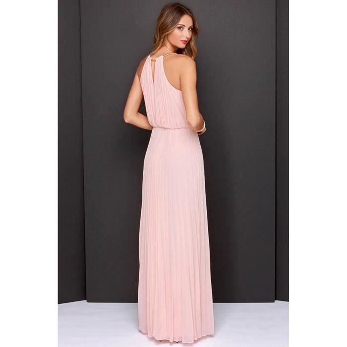 robe longue O-cou sans manches creux dos