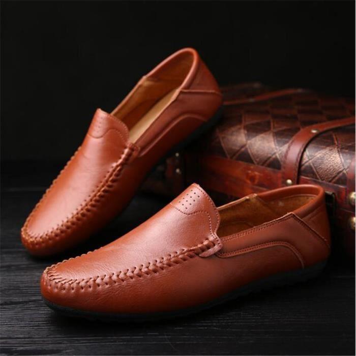 Chaussure Homme Meilleure Qualité Mode À La Main En Cuir Chaussures En Cuir Souple Occasionnelles Confortable Rouge 44