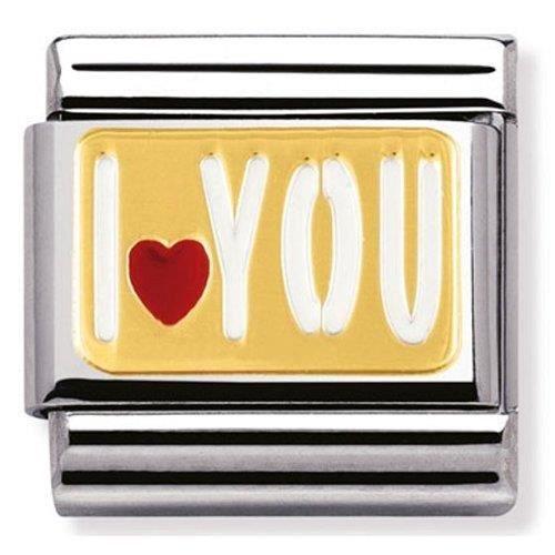 Nomination 030261-27 - Maillon Pour Bracelet Composable Femme - Acier Inoxydable Et Or Jaune 18 Cts U8W7B