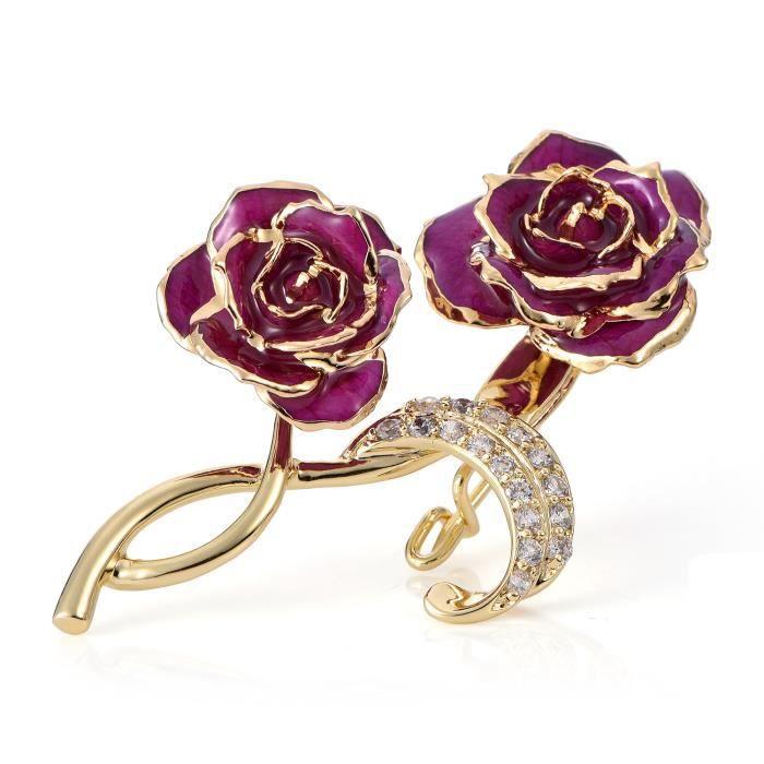 Broche 24K Plaqué Or Broche en forme de rose Cadeau PR Saint-Valentin, Fête des mères, Noël, Anniversaire, Mariage