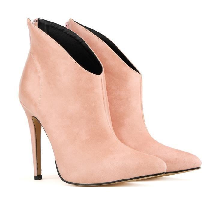 Automne et hiver nouvelle Europe et les États-Unis bottes à talons hauts bottes à talons hauts bottes en cuir en cuir,rose,41