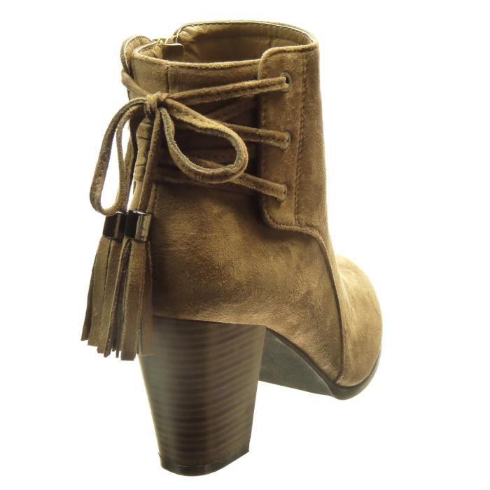 Angkorly - Chaussure Mode Bottine montante femme pom-pom frange lacets Talon haut bloc 7.5 CM - Taupe - FD276