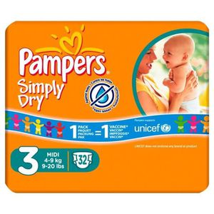 COUCHE Pampers Simply Dry Taille 3 (Midi) 4-9Kg 30 couche