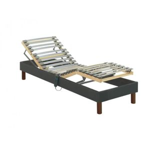 SOMMIER Sommier de relaxation lattes tissu gris anthracite