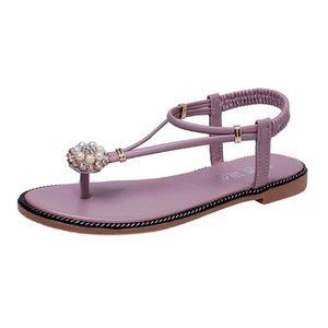 SANDALE - NU-PIEDS Femmes Bohême Perle Sandales d'été Mode diamant Sa