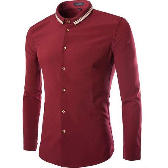 0163b5bc63b9a Chemise Homme Blanche Marque Slim Fit Manche Lo... Vin rouge - Achat /  Vente chemise - chemisette - Soldes d'été Cdiscount