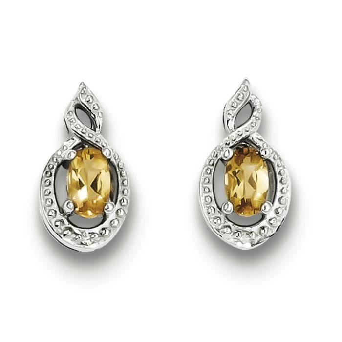 Argent Sterling avec diamant et Citrine-Boucles doreilles