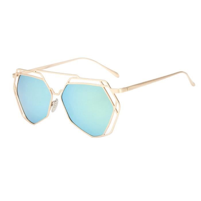Twin-poutres géométrie Design femmes lunettes de vue en métal miroir vert