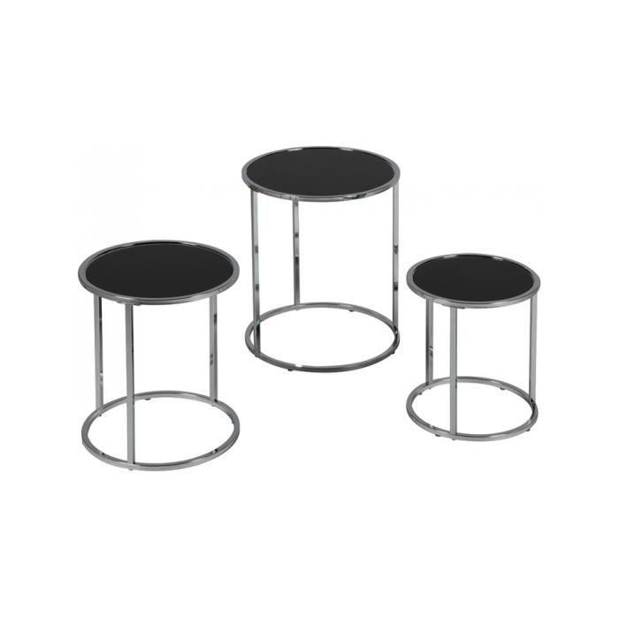 économiser dc4e9 73ae4 Table gigogne ronde verre trempé noir 40 Noir