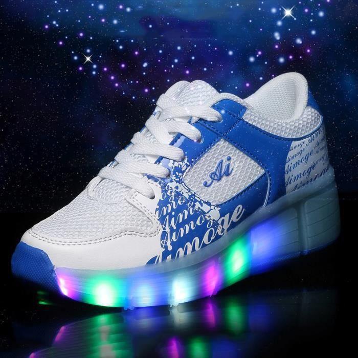 Enfants avec chaussures à roulettes batterie remplaçable LED Lights baskets avec roues Garçons filles