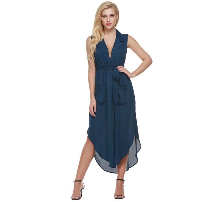 Robe femme longue Finejo Robe sans manches robe en mousseline de soie