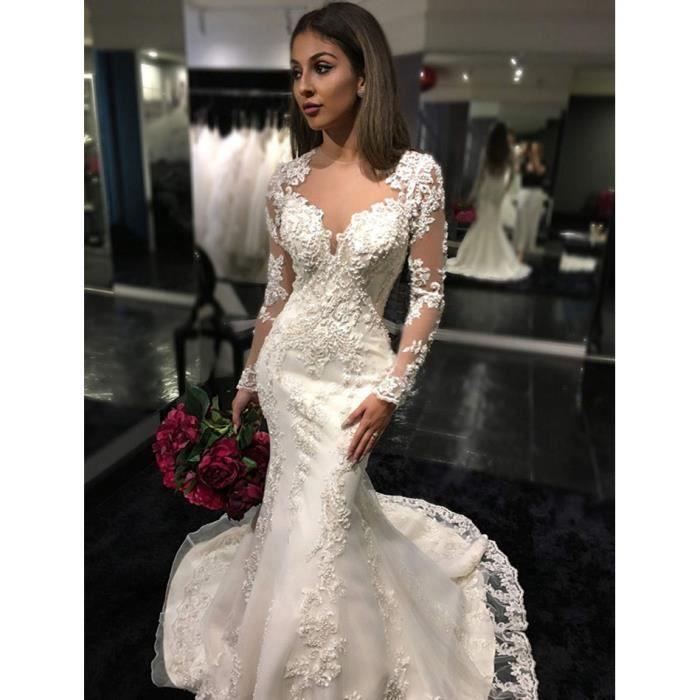 robe de mariage blanche longue avec manche longue col rond organza princesse avec dentelle. Black Bedroom Furniture Sets. Home Design Ideas