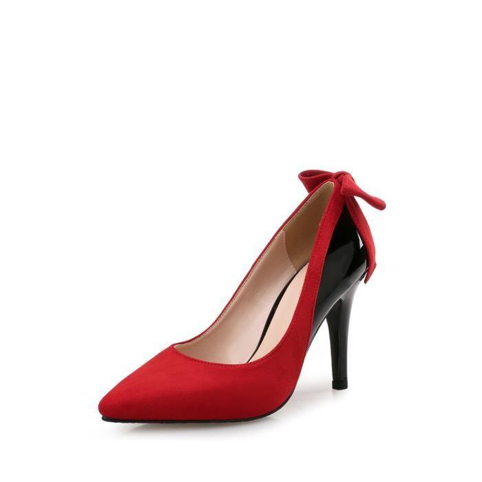 Escarpin Talon mince Femmes Pompes Color Block en cuir verni Bow Chaussures Pointu 2729406