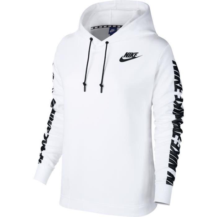 3bbc509f40 Sweat NIKE Femmes Nike Sportswear A Blanc Blanc - Achat / Vente ...