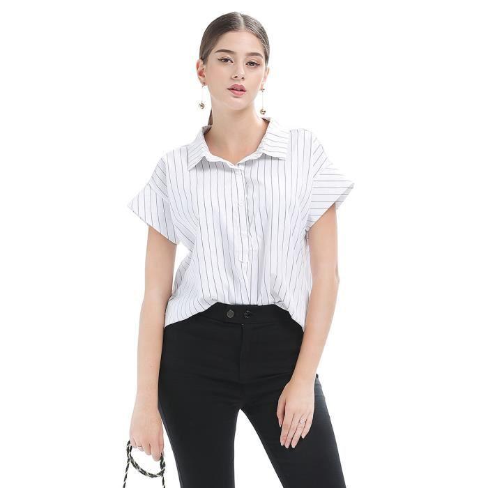 a1cfc9d8ae60 Chemise Femme Été manches courtes rayé col revers loose fit mode Blanc  SIMPLE FLAVOR