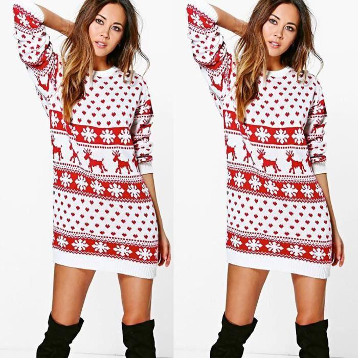 Femmes Longues Miniblanc Noël À Print Robe Manches 9EHIYW2D