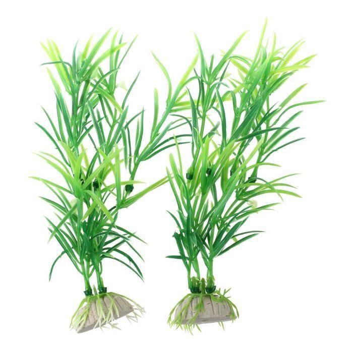 """Sodial(r) Plastique Vert 6.7 """"plantes D'aquarium Reservoir De Poisson Herbe Decor 2pcs"""
