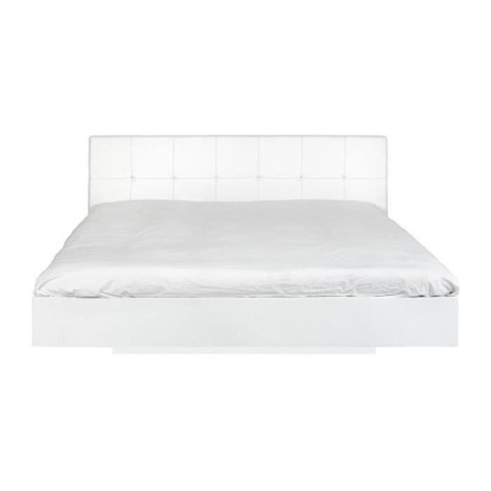 lit double blanc float avec tete de lit cuir 160x200 avec sommier blanche achat vente. Black Bedroom Furniture Sets. Home Design Ideas