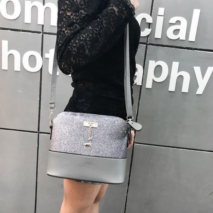 Messenger À Pour Paillettes Petit Femme Bandoulière De Peau Bag Sac Zf28 Cuir Cerf En aRqICP