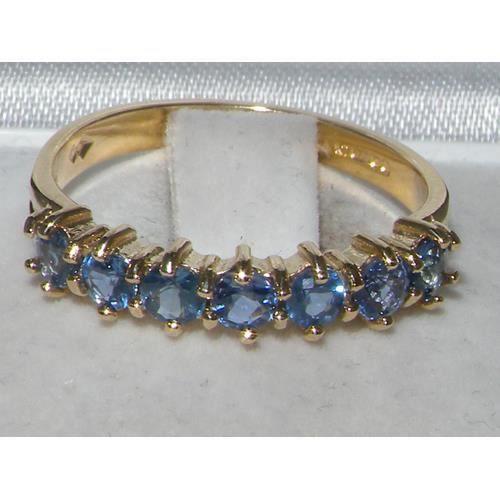 Bague pour Femme en Or jaune 14 carats 585-1000 sertie de Saphir bleu- Tailles 50 à 64
